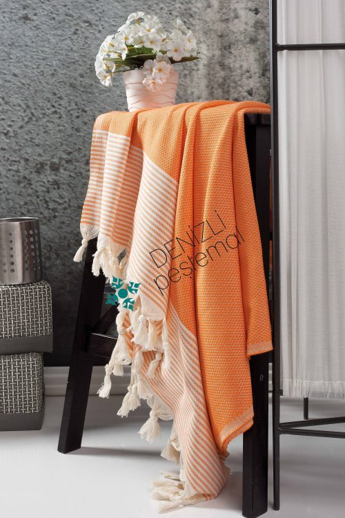 Honeycomb Stripe Peshtemals Orange